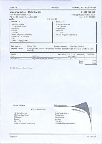 A Integrated Label Paper With Peel Off Sticky Integrated Labels - Integrated label invoice paper