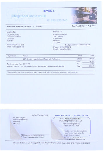 Integrated Labels Mole End Ltd Double Label Integrated Labels - Integrated label invoice paper
