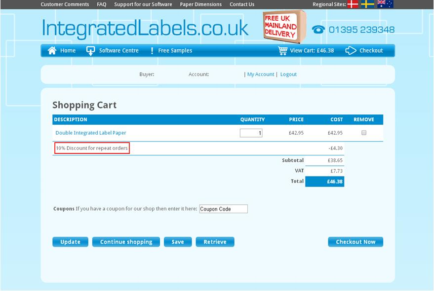 Integrated Labels Shopping cart discount