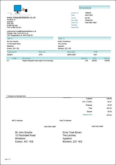 Centralasianshepherdus  Personable Integrated Label Invoices For Invoicego With Great Invoice With  Integrated Label With Shipping Address On Integrated Label With Cool Deposit Invoice Also Find Invoice Price In Addition Itemized Invoice Template And Sample Invoice Template Word As Well As Fedex International Commercial Invoice Additionally Electronic Invoice Presentment And Payment From Integratedlabelscouk With Centralasianshepherdus  Great Integrated Label Invoices For Invoicego With Cool Invoice With  Integrated Label With Shipping Address On Integrated Label And Personable Deposit Invoice Also Find Invoice Price In Addition Itemized Invoice Template From Integratedlabelscouk