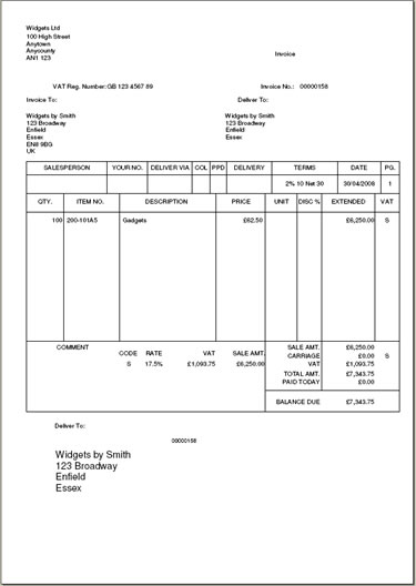 integrated label invoice for myob accounting, Invoice examples